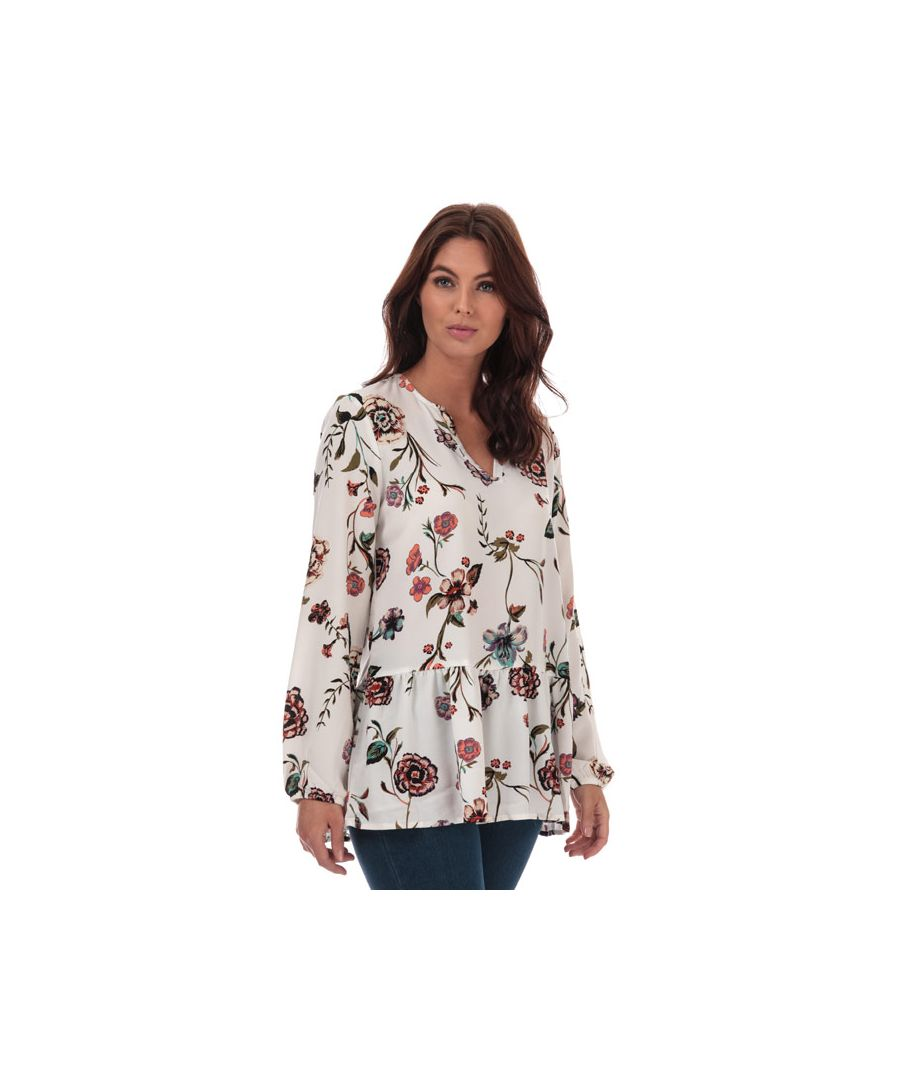 Image for Women's Jacqueline de Yong Ruby Floral Print Tunic in White
