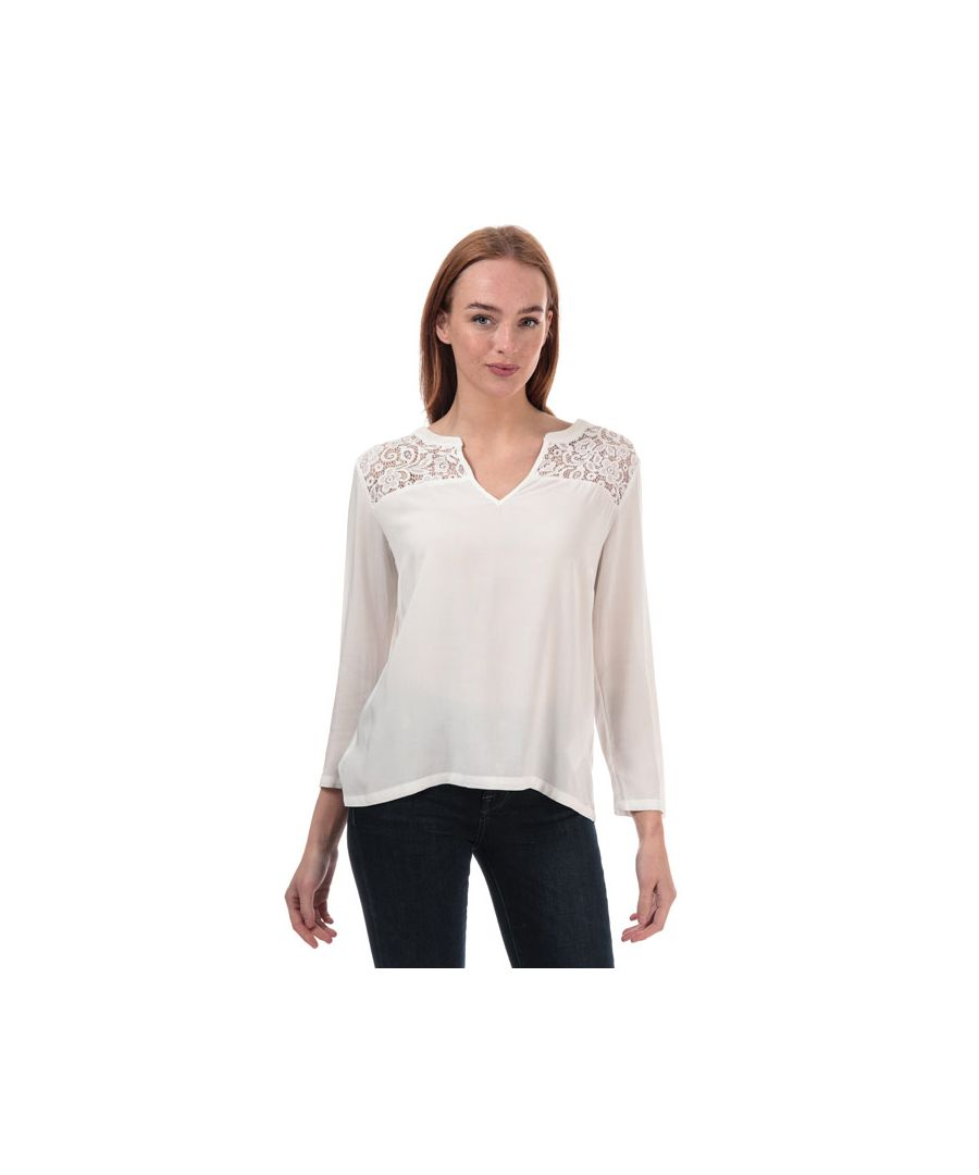 Image for Women's Jacqueline de Yong Raymond Lace Trim Top in White