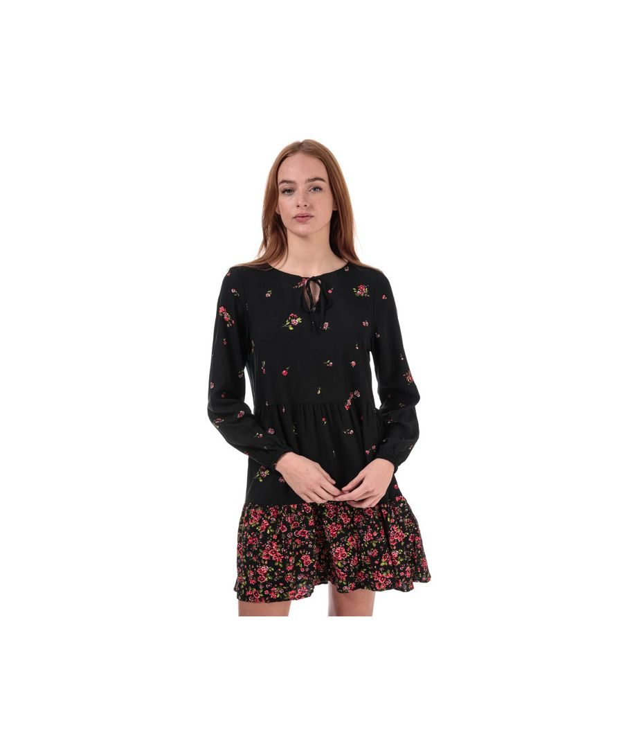 Image for Women's Only Alisa Life Long Sleeve Floral Dress in Black