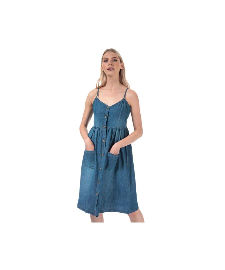 Image for Women's Jacqueline de Yong Saint Life Button Midi Dress in Denim