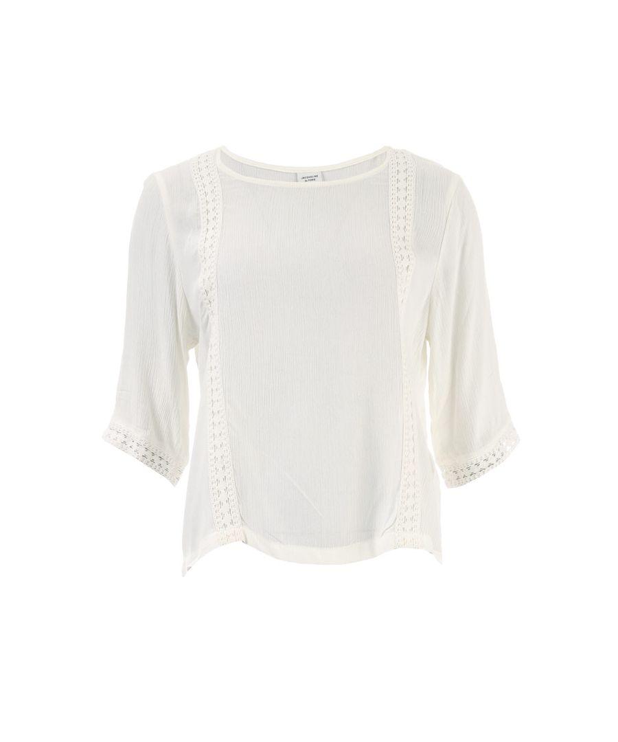 Image for Women's Jacqueline de Yong Sihaka Lace Trim Top in White
