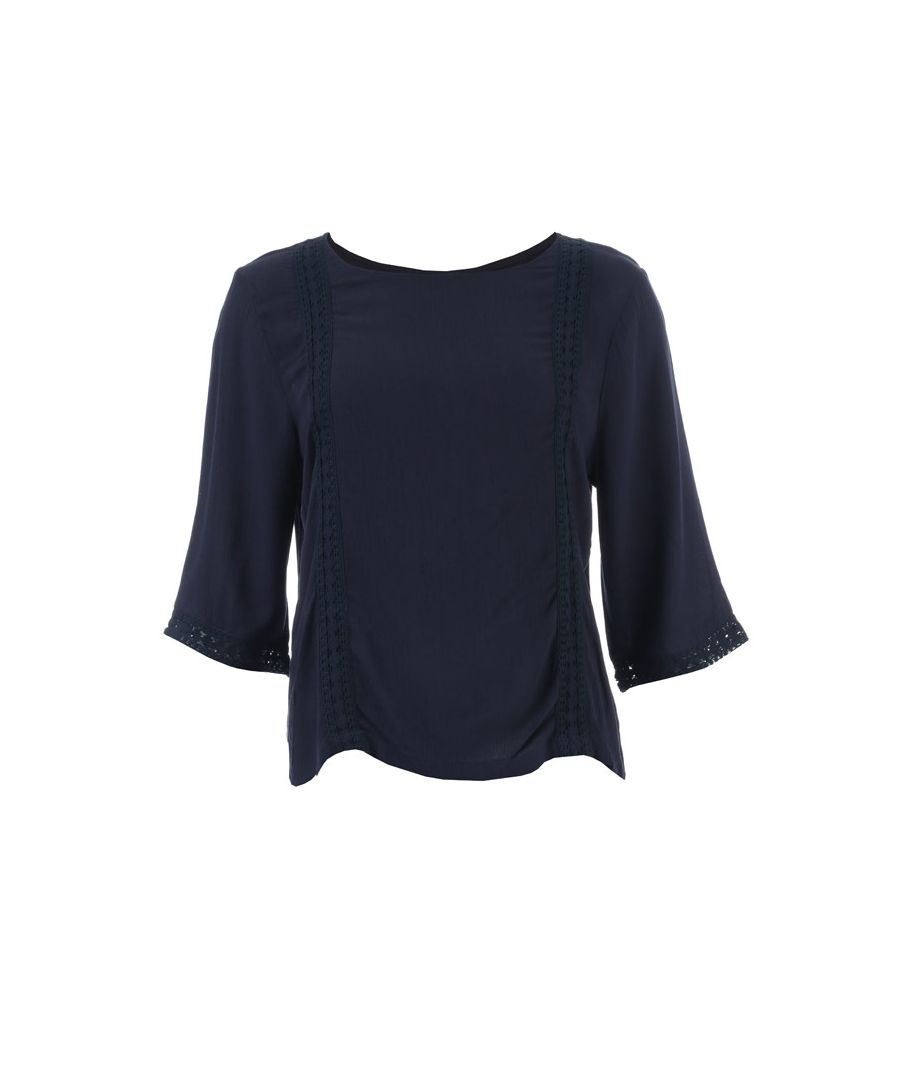 Image for Women's Jacqueline de Yong Sihaka Lace Trim Top in Navy