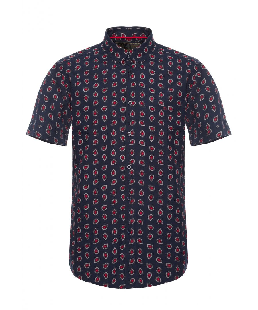 Image for Pickford Men's Short Sleeve Paisley Print Shirt in Navy