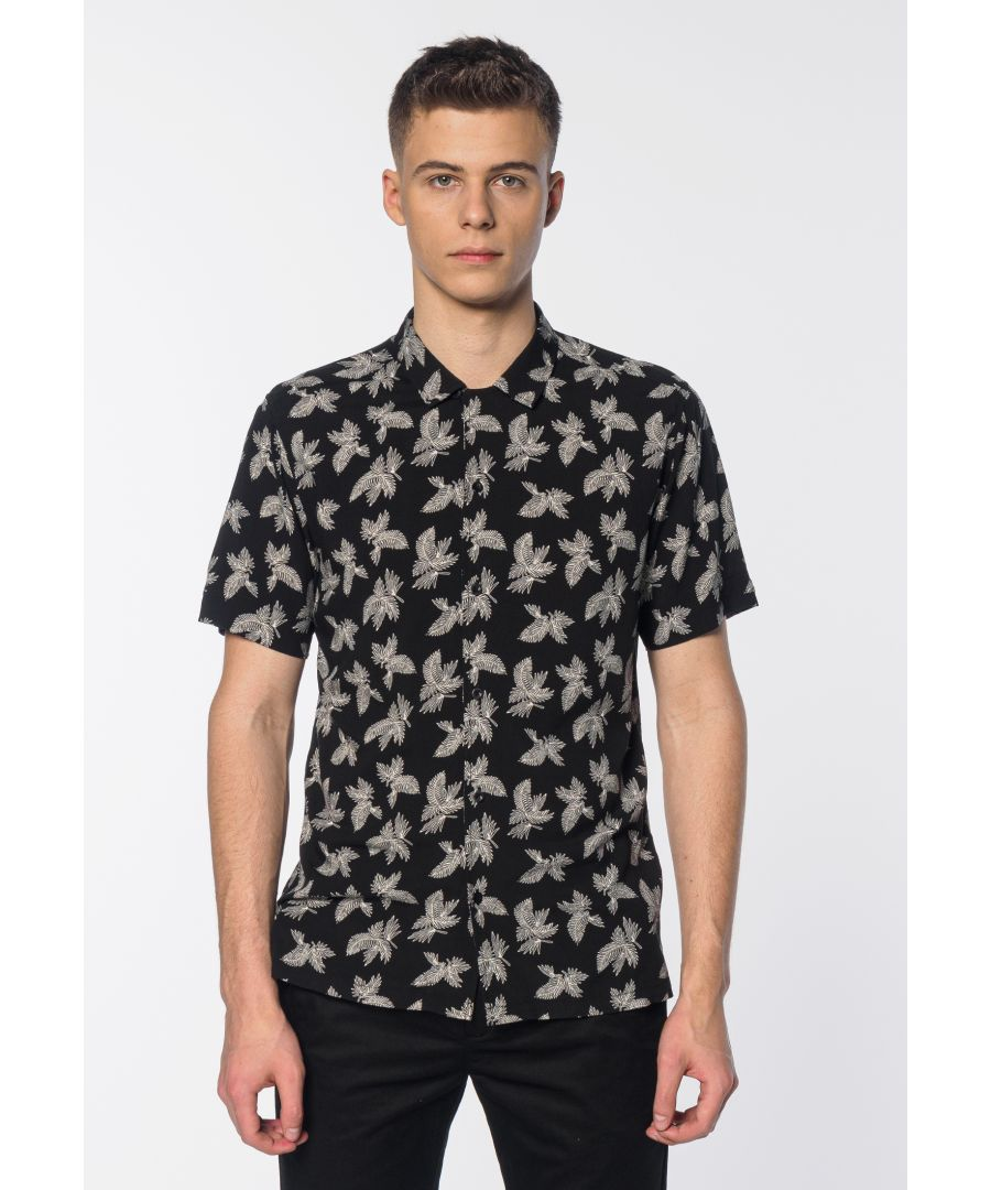 Image for Carlisle Men's Short Sleeve Palm Print Shirt in Black