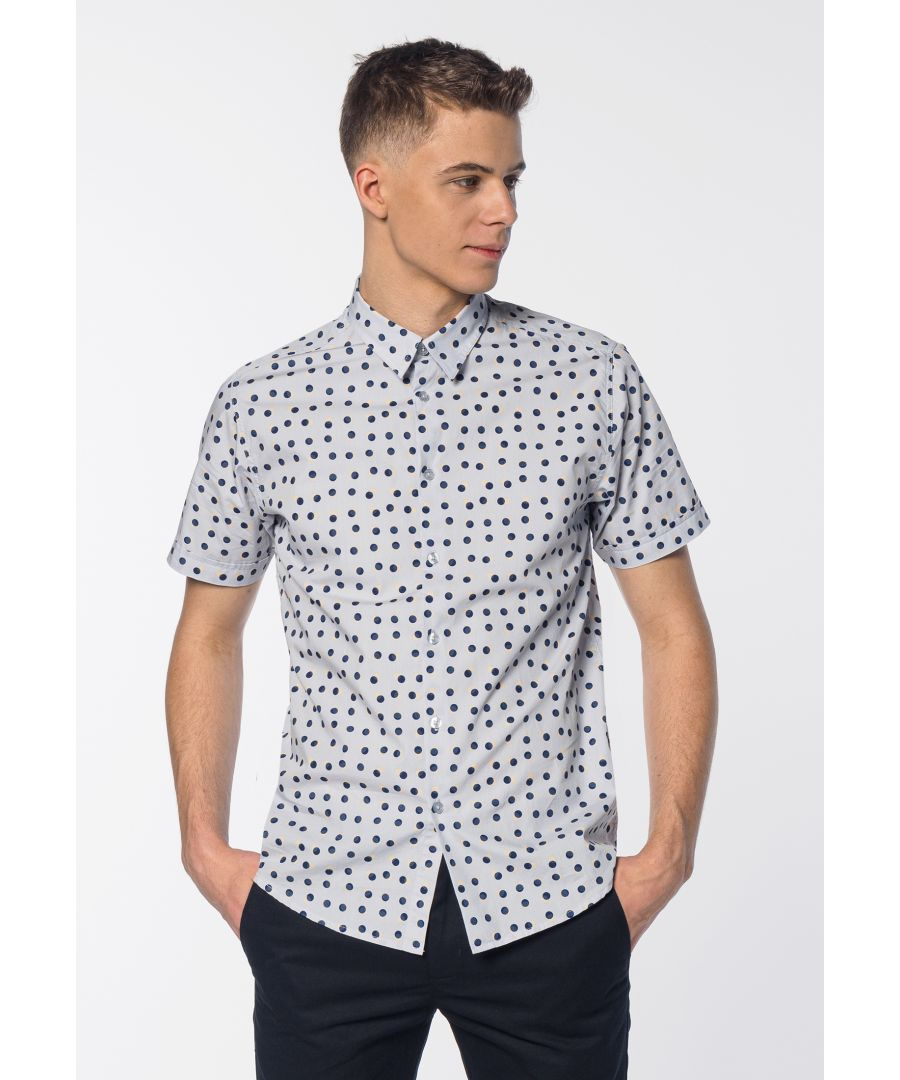 Image for Shelley Men's Short Sleeve Spot Print Shirt in Boy Blue