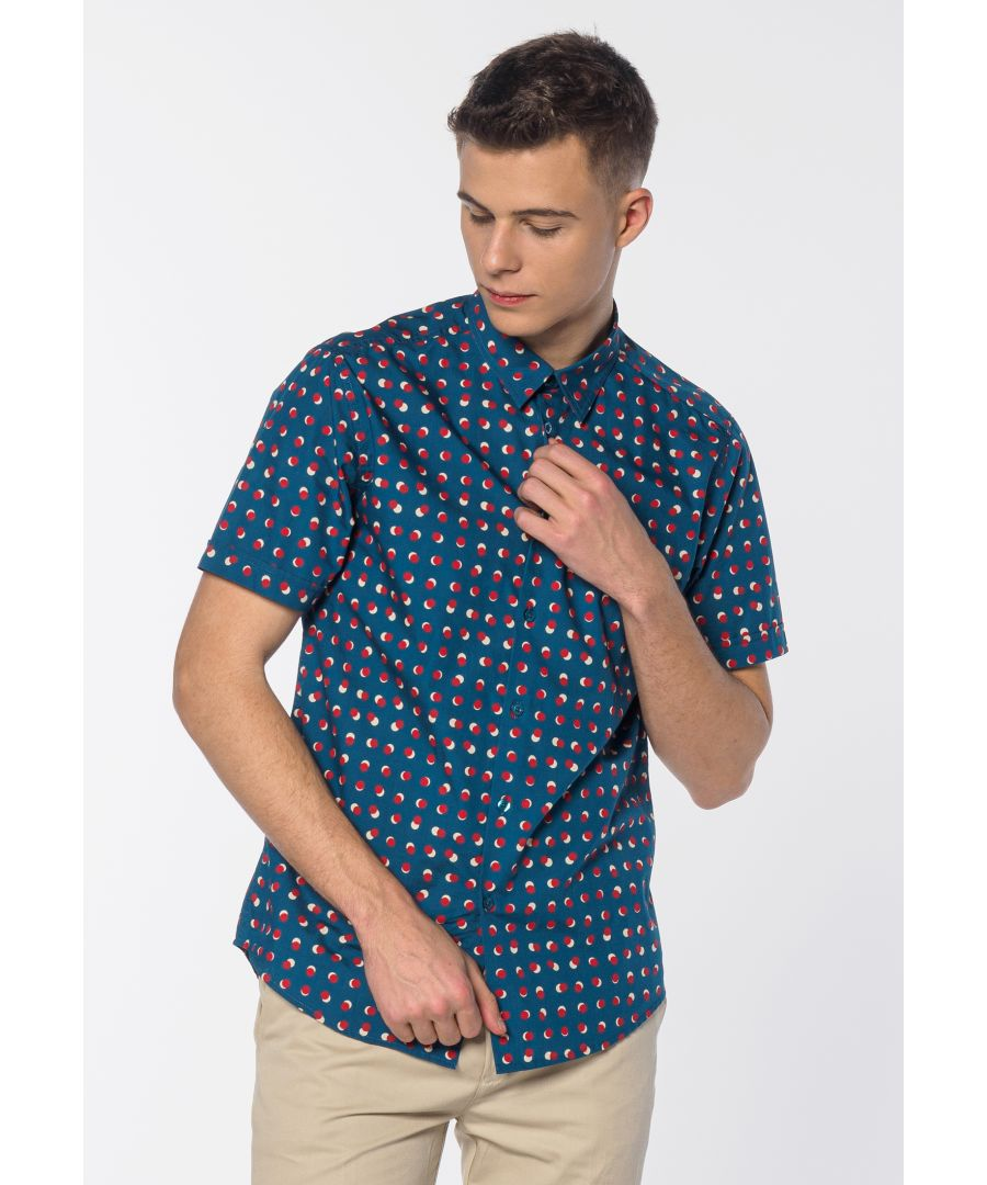 Image for Shelley Men's Short Sleeve Spot Print Shirt in Bright Blue