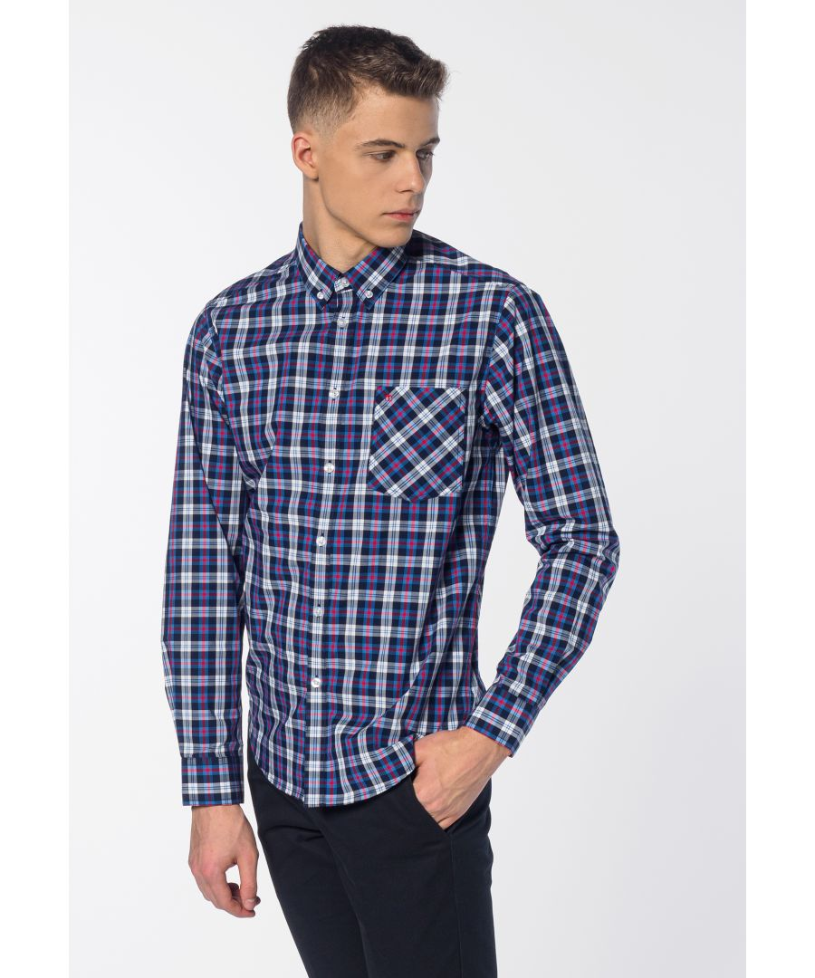 Image for Cornhill Men's Long Sleeve Check Print Shirt in Blue