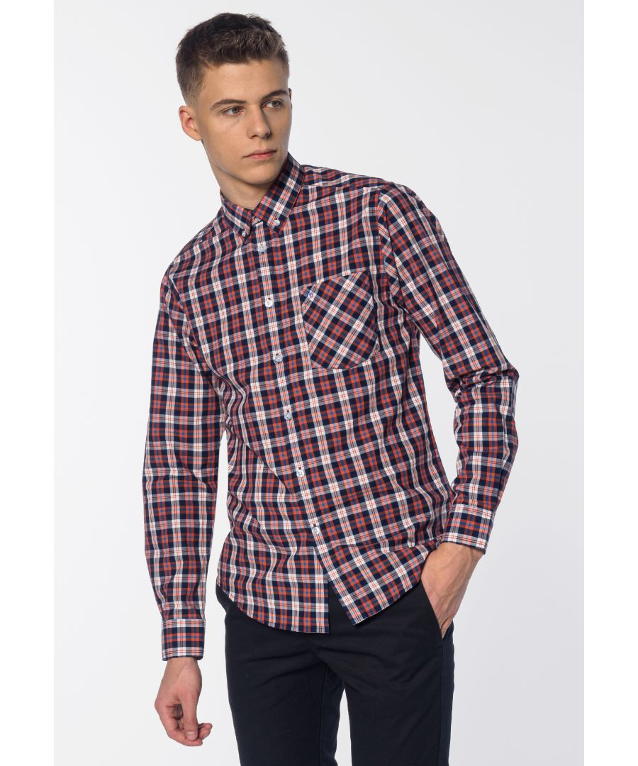 Image for Cornhill Men's Long Sleeve Check Print Shirt in Sienna