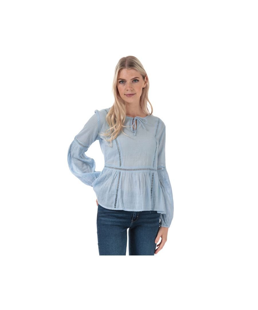 Image for Women's Jacqueline de Yong Trinity Life Lace Blouse in Light Blue