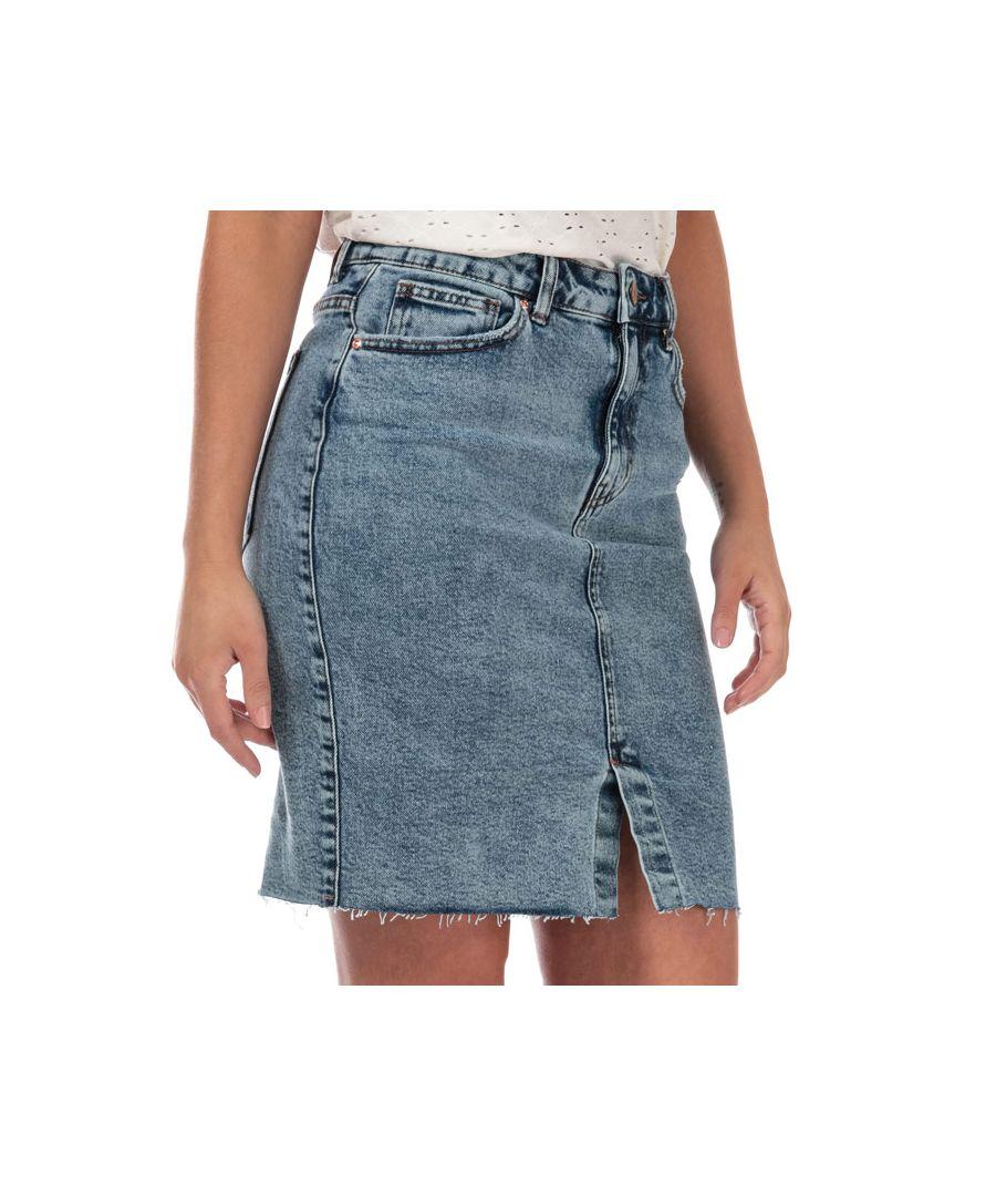 Image for Women's Only Emily High Waist Denim Skirt in Light Blue