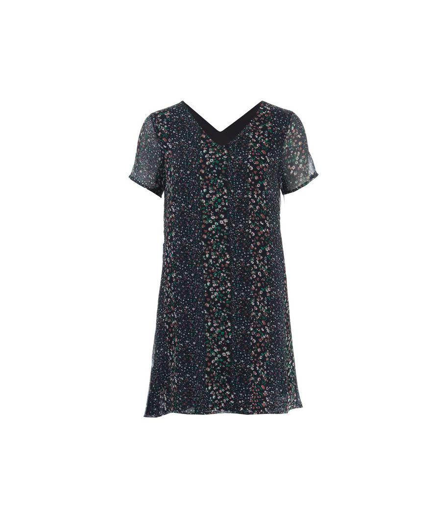 Image for Women's Jacqueline de Yong Sibel Floral Stripe Dress in Navy