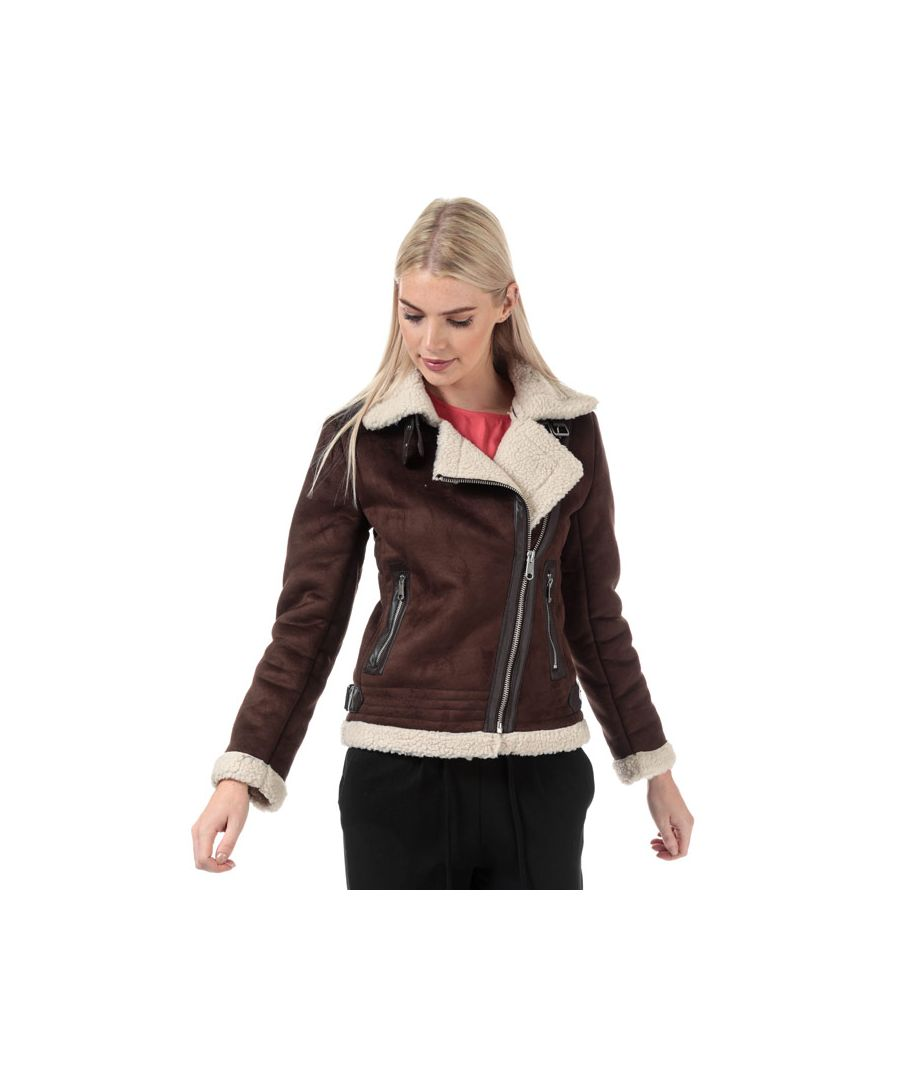 Image for Women's Only Diana Bonded Aviator Jacket in Dark Brown