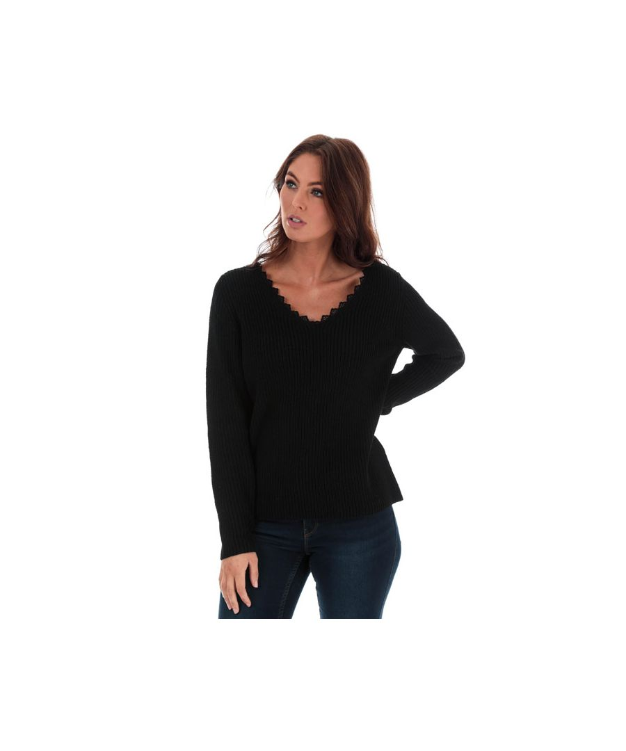 Image for Women's Only Jennie Life Lace V-Neck Jumper in Black