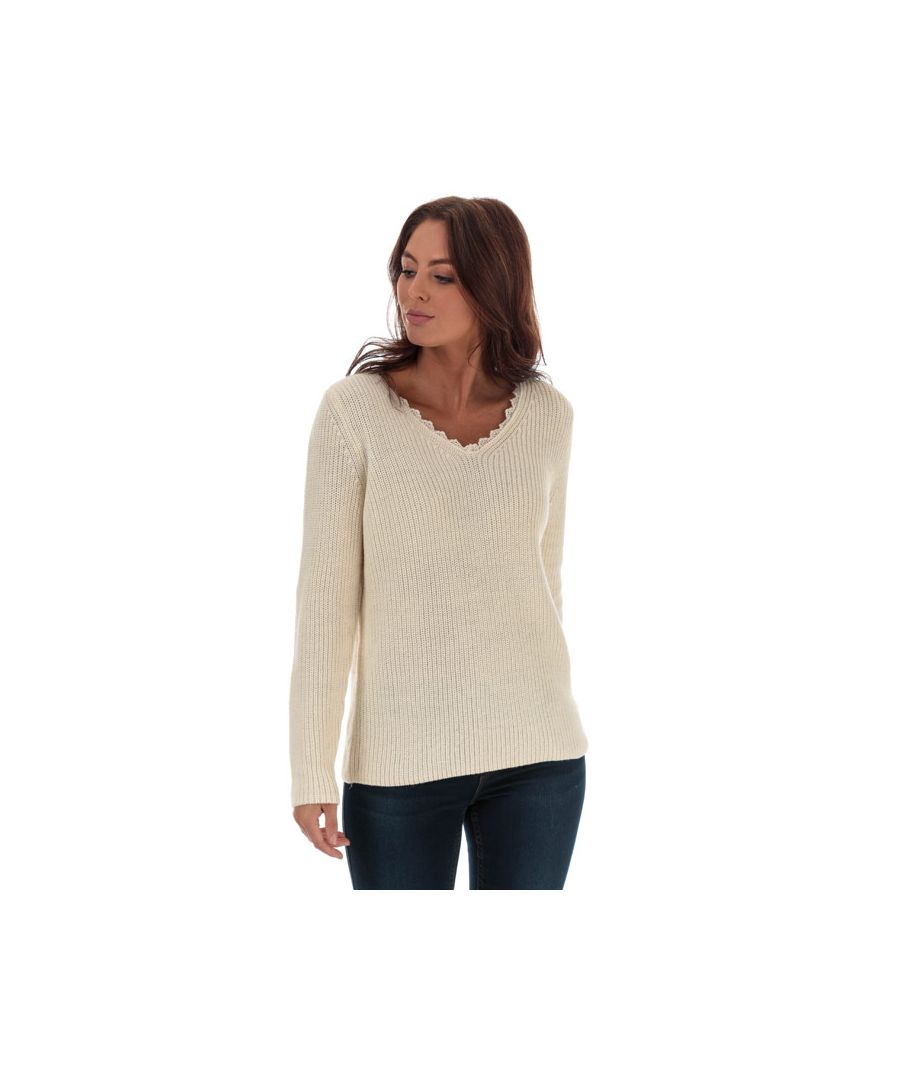 Image for Women's Only Jennie Life Lace V-Neck Jumper in Natural