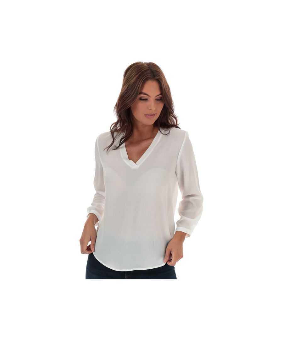 Image for Women's Jacqueline de Yong Milo V-Neck Top in White
