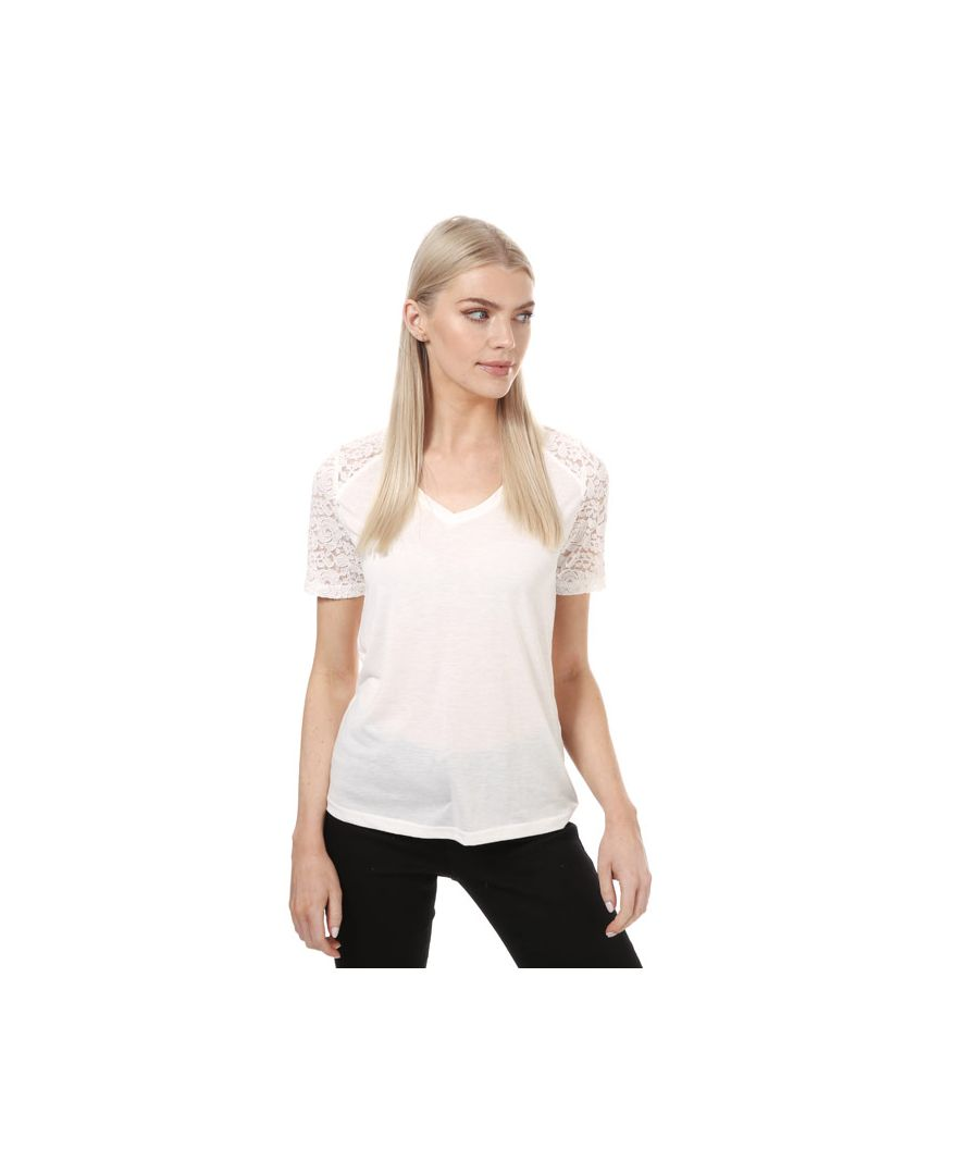 Image for Women's Jacqueline de Yong Stinne Short Sleeve Lace Top in White