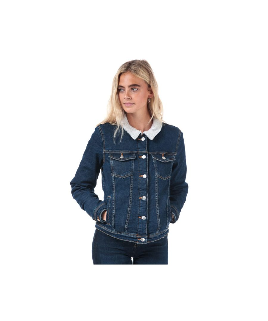 Image for Women's Only Tia Teddy Denim Jacket in Denim