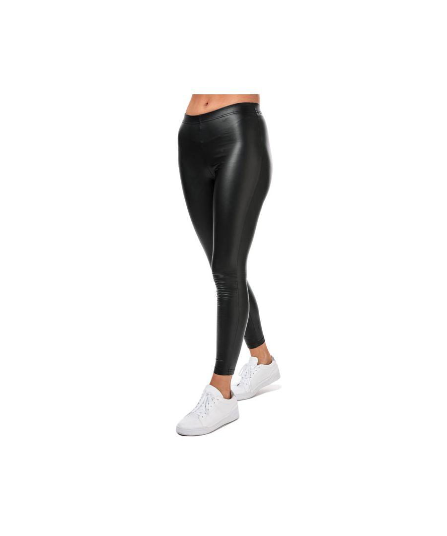 Image for Women's Jacqueline de Yong Stine Faux Leather Leggings in Black