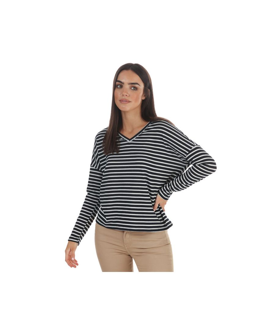 Image for Women's Jacqueline de Yong Harlow LS Tonsy V-Neck Top in Navy