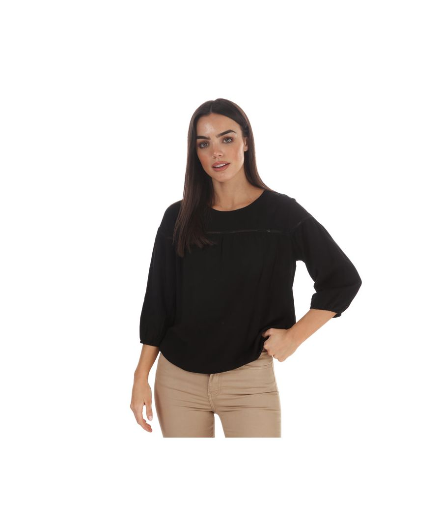 Image for Women's Jacqueline de Yong Riana 3 Quarter Sleeve Top in Black