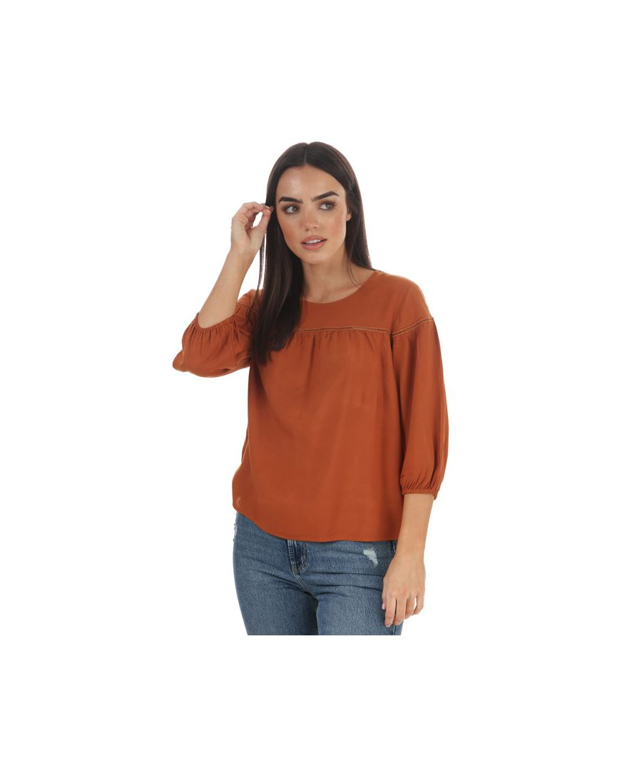 Image for Women's Jacqueline de Yong Riana 3 Quarter Sleeve Top in Brown