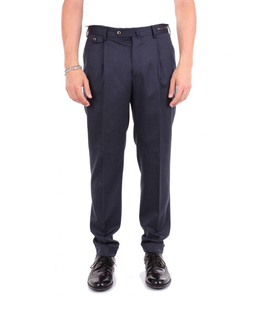 Image for PT01 MEN'S C026GF11ZP0CL1BLUE BLUE WOOL PANTS
