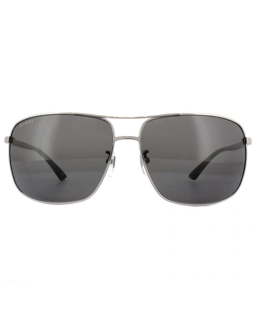 Image for Gucci Sunglasses GG0065SK 001 Ruthenium Black Grey