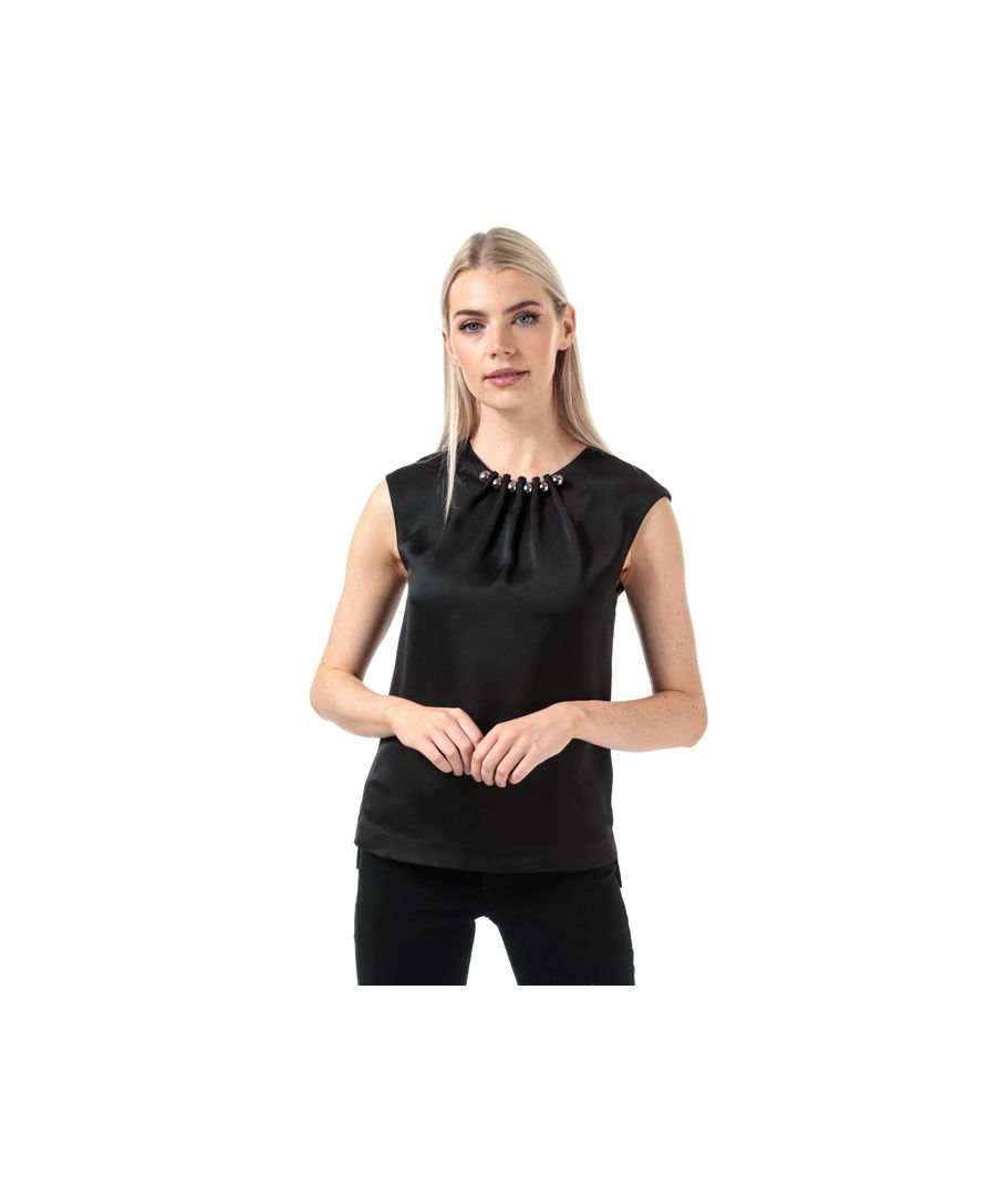 Image for Women's Ted Baker Camble Folded Bead Neck Top in Black