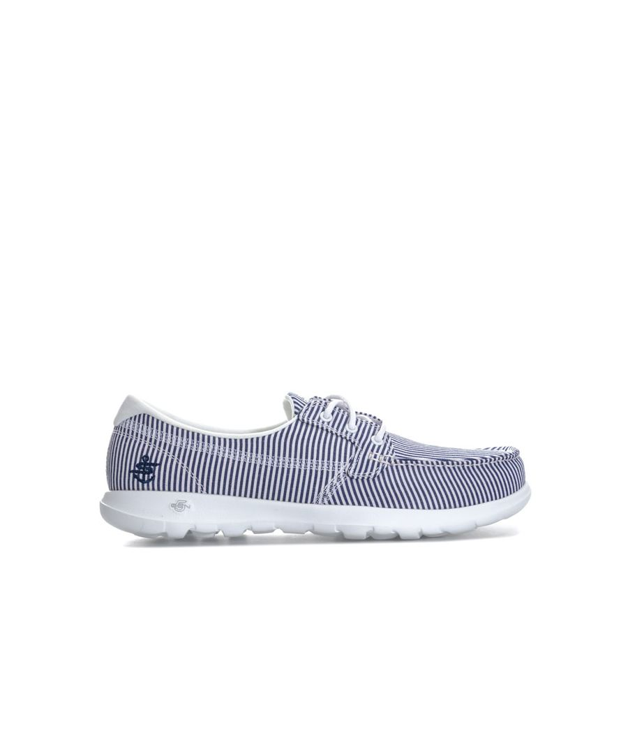 Image for Women's Skechers Go Walk Lite Caribbean Boat Shoes in Navy-White