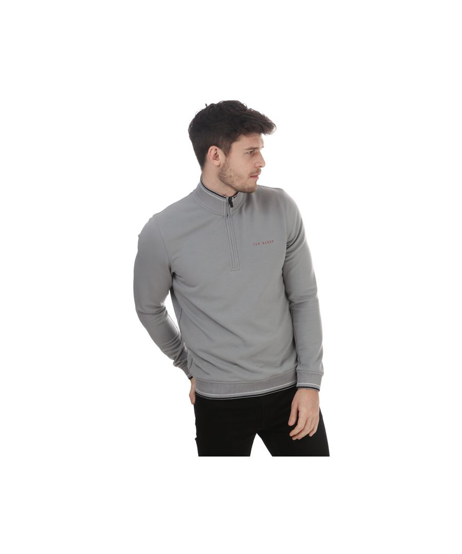Image for Men's Ted Baker Peanot Half Zip Sweatshirt in Grey