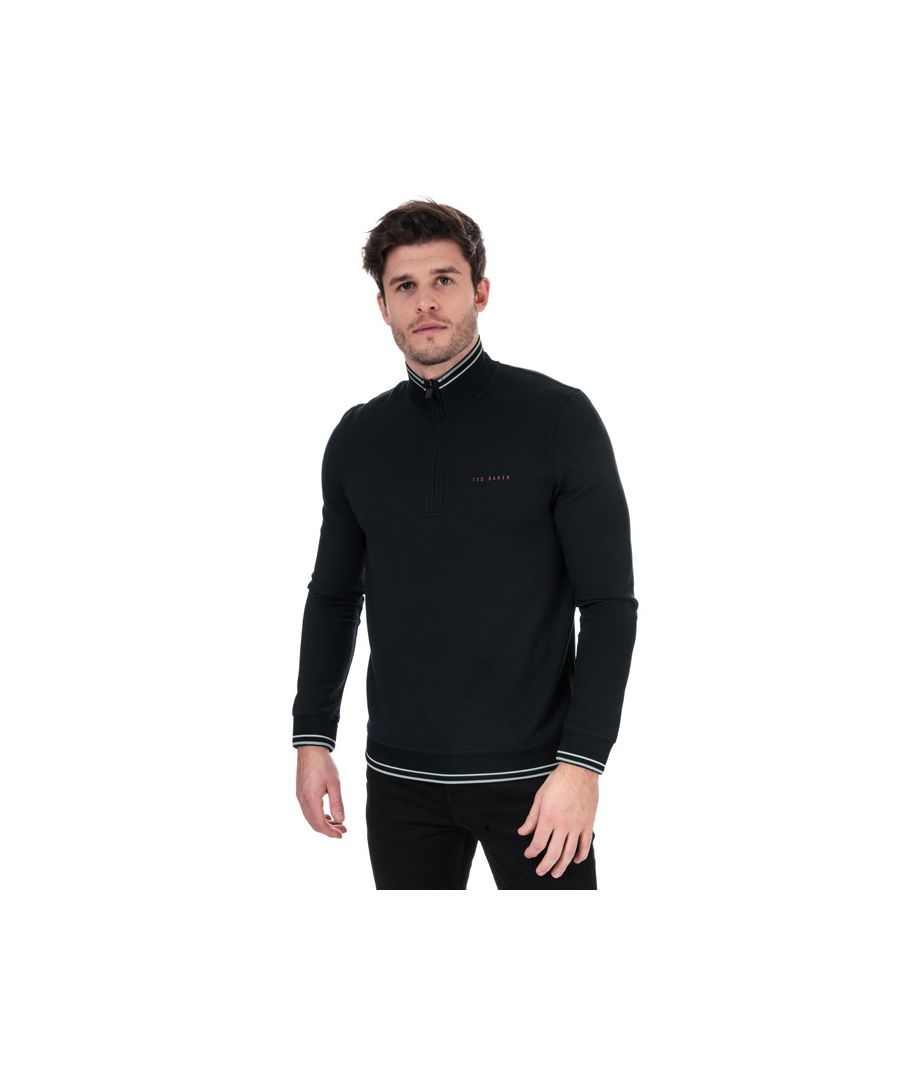 Image for Men's Ted Baker Peanot Half Zip Sweatshirt in Navy