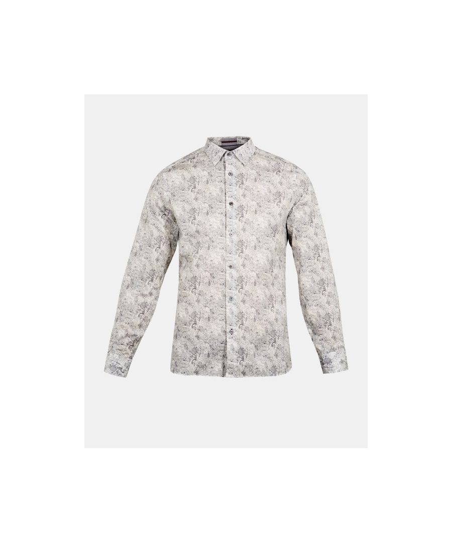 Image for Ted Baker Balmy Long-Sleeved Leaf Print Shirt, White