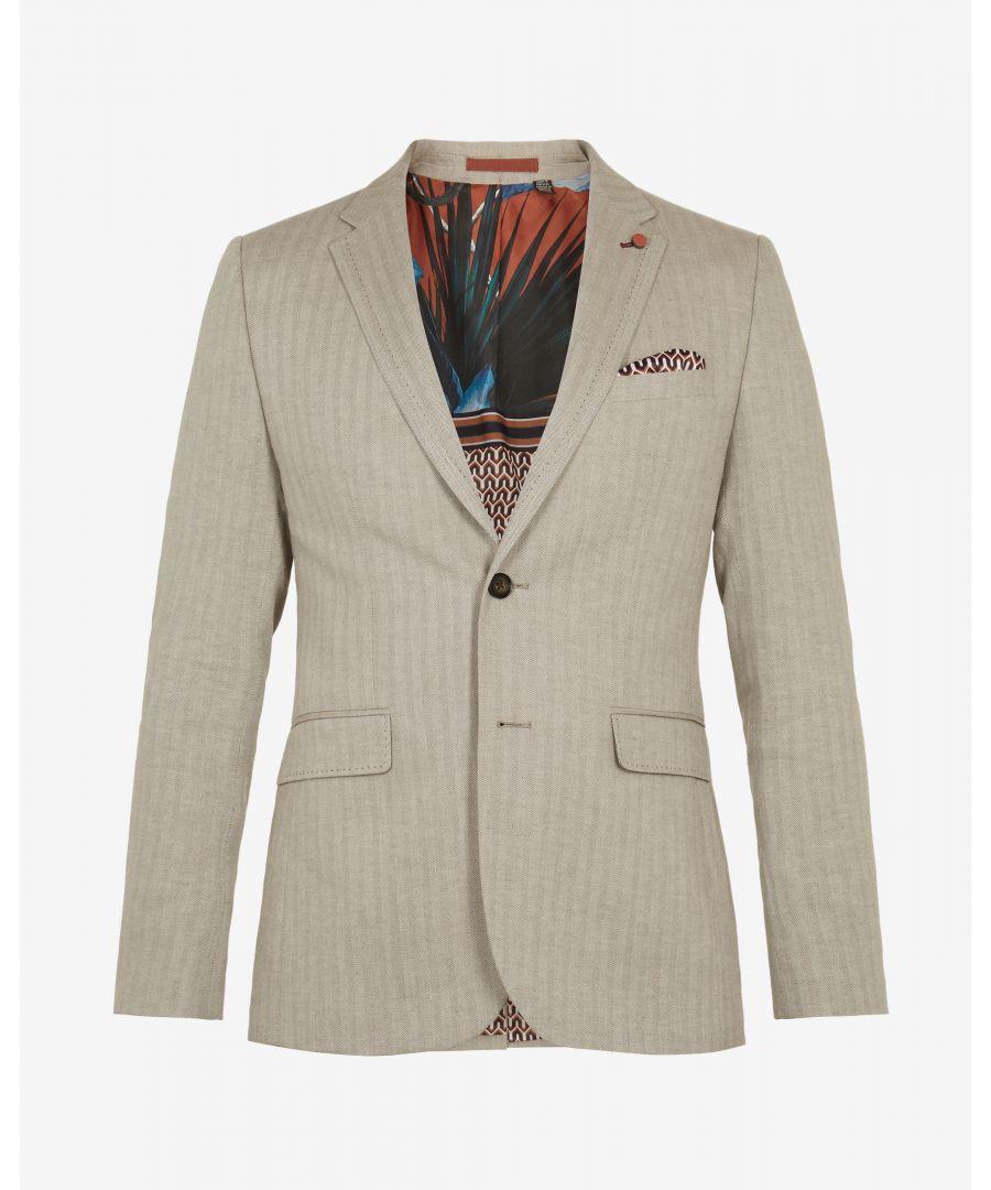 Image for Ted Baker Balrhot Linen Herringbone Jacket, Natural