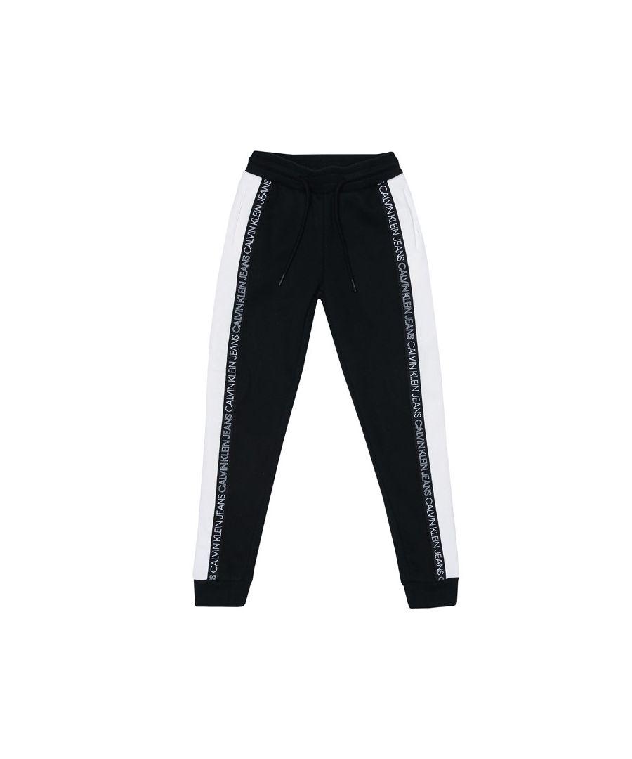 Image for Boy's Calvin Klein Junior Colour Block Joggers in Black