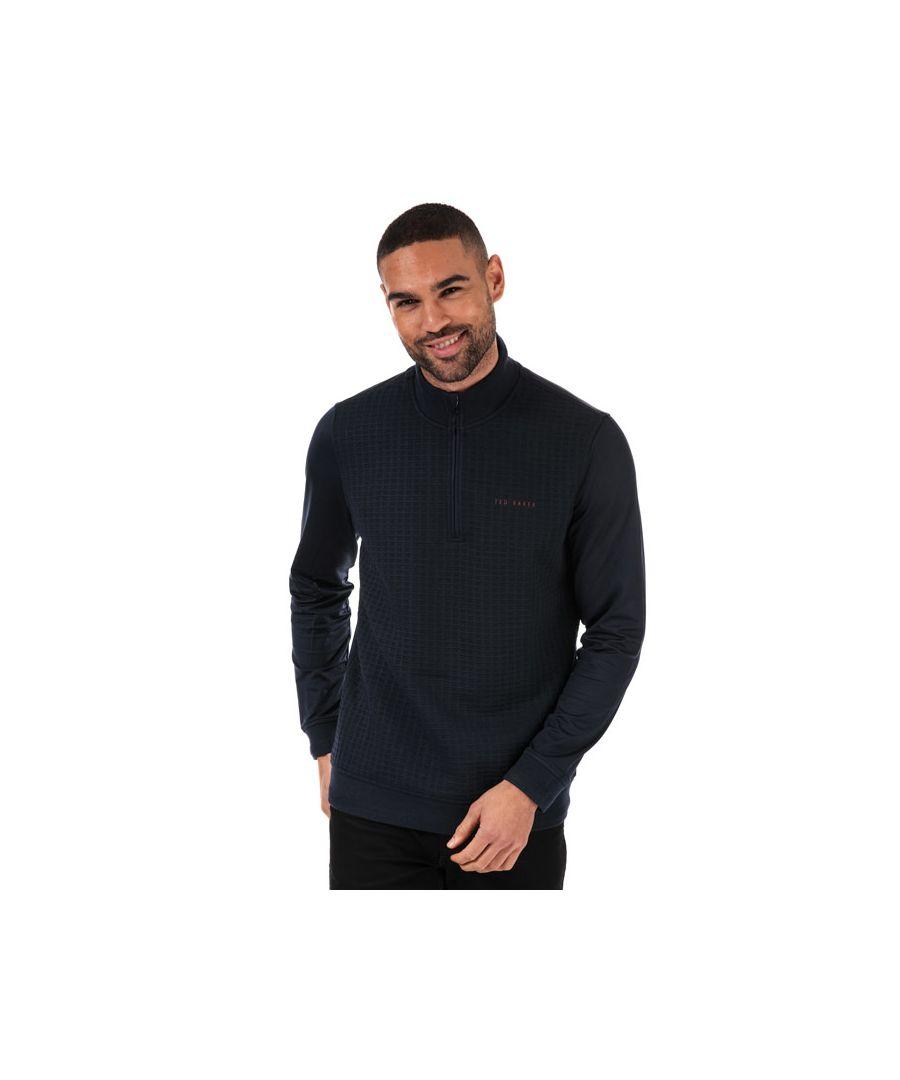 Image for Men's Ted Baker Pitchin Half Zip Funnel Neck Sweatshirt in Navy