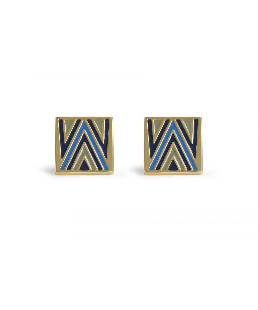 Image for 70's Chevron Blue Cufflinks