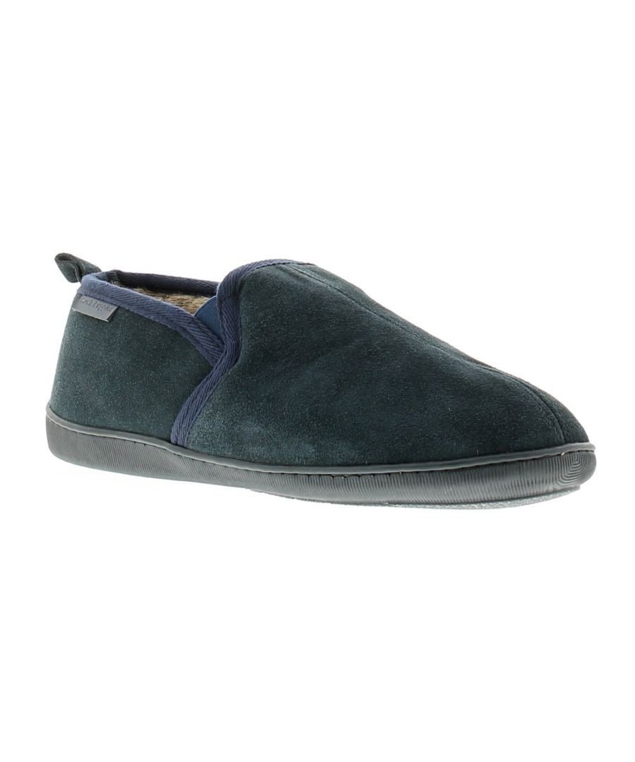 Image for Hush Puppies arnold leather mens full slippers navy