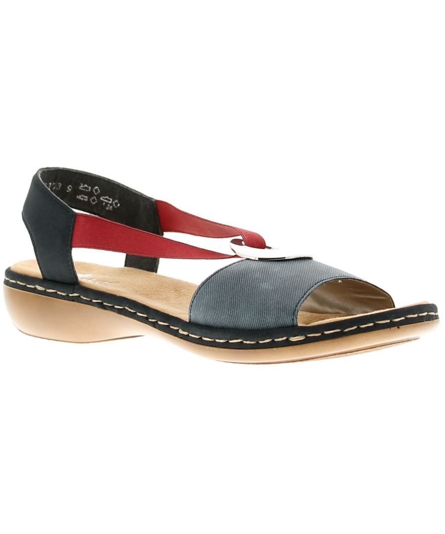 Image for Ladies Soft, Synthetic Upper, Colour Block, Flat Sandals Large Silver Metal Disc Design Stretchy Str