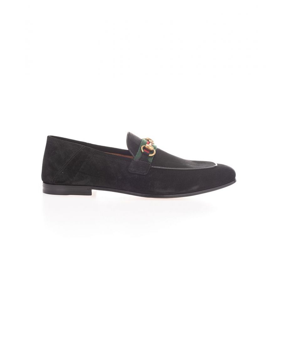 Image for GUCCI MEN'S 5815131M6201074 BLACK SUEDE LOAFERS