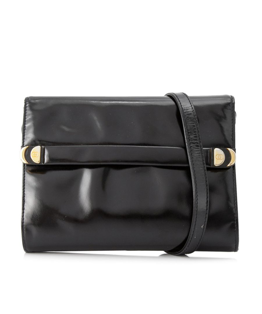 Image for Vintage Gucci Patent Leather Crossbody Bag Black