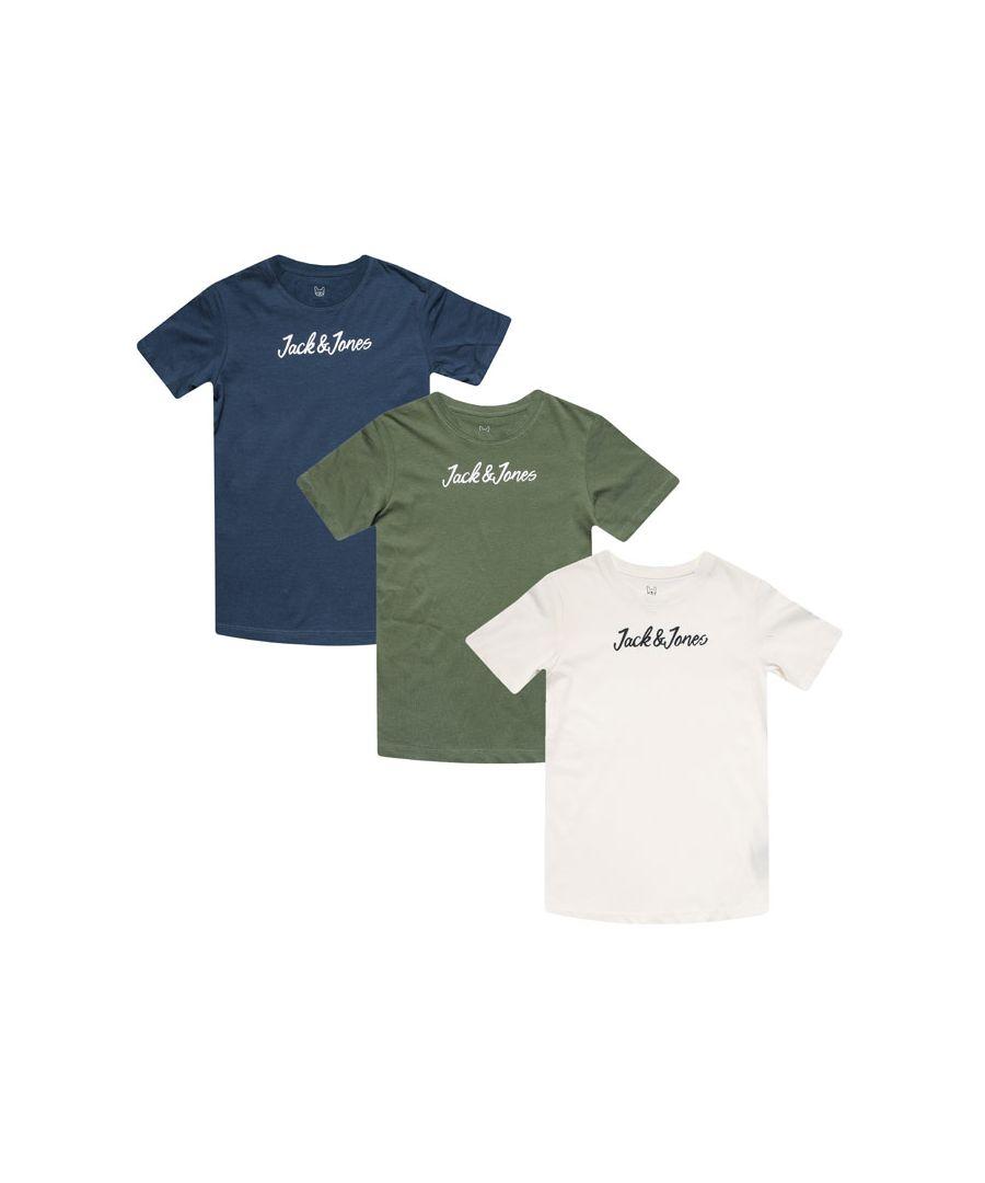 Image for Boys' Jack Jones Junior Winks 3 Pack T-Shirt in Blue