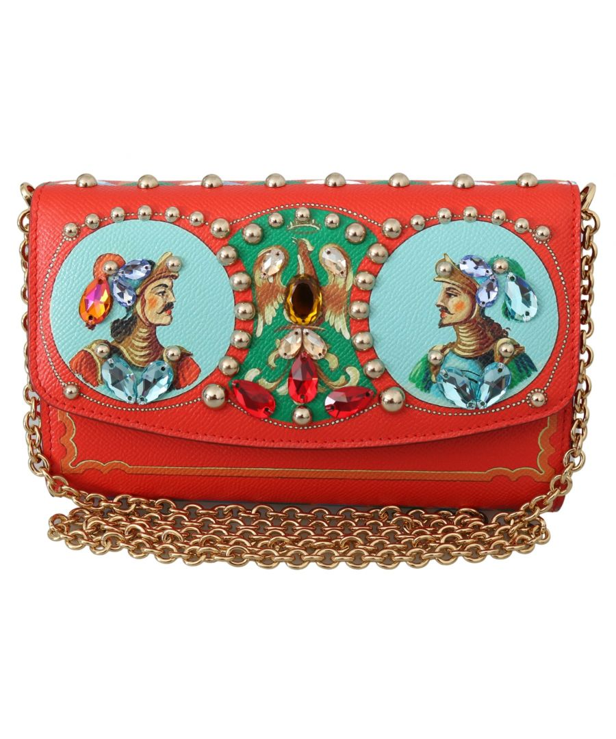 Image for Dolce & Gabbana Red Crystal Clutch Sicily Women Leather Purse