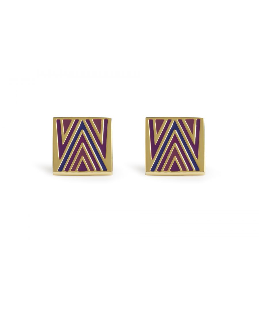 Image for 70's Chevron Purple Cufflinks