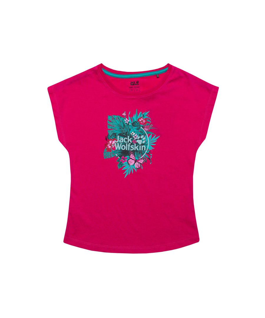 Image for Girl's Jack Wolfskin Junior Tropical T-Shirt in Pink