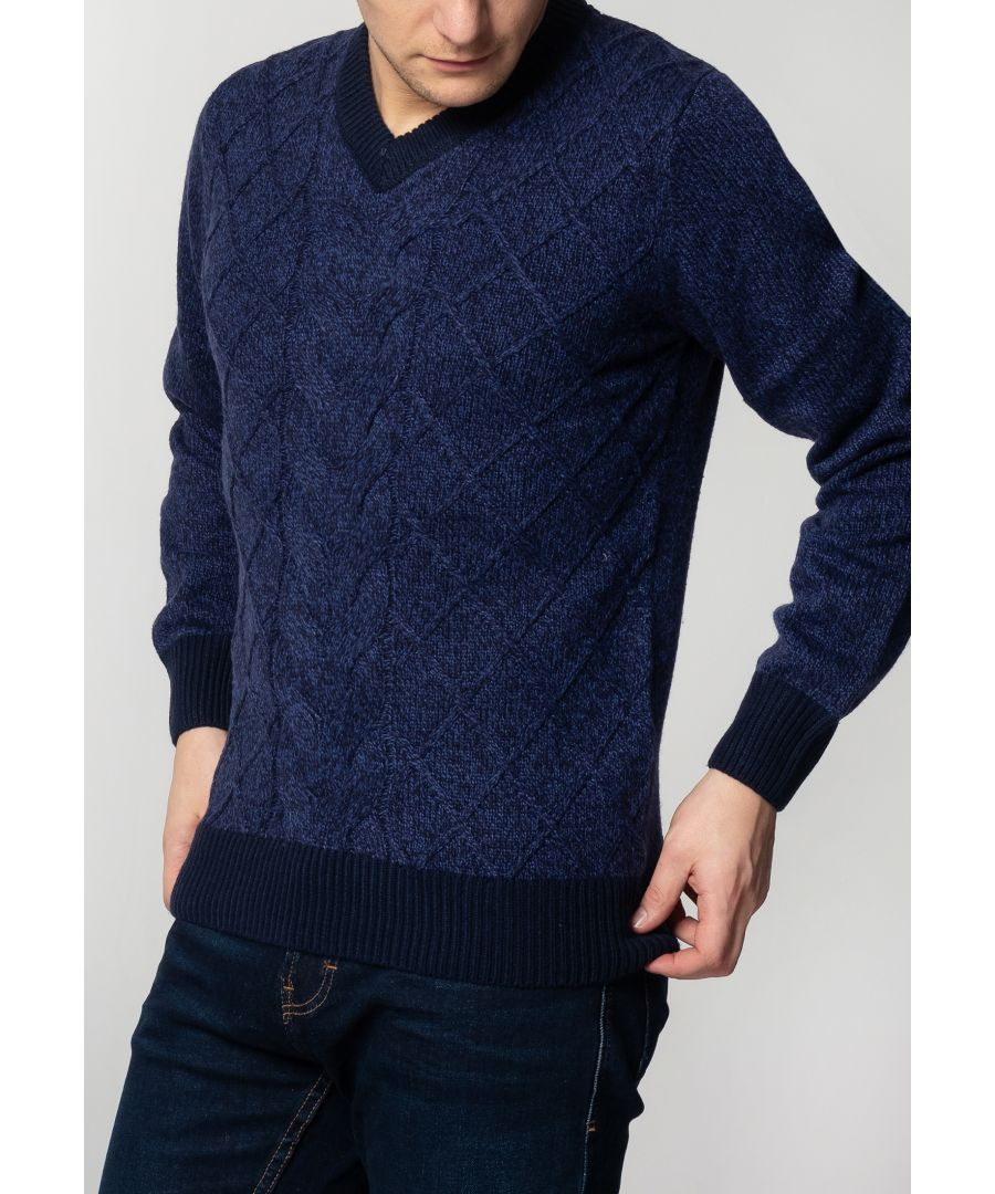 Image for Hatcliffe Cable V-Neck Jumper With Ribbed Hem And Cuffs In Navy Marl