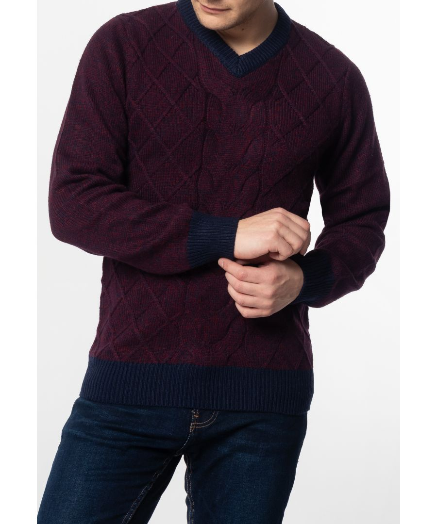 Image for Hatcliffe Cable V-Neck Jumper With Ribbed Hem And Cuffs In Burgundy Marl