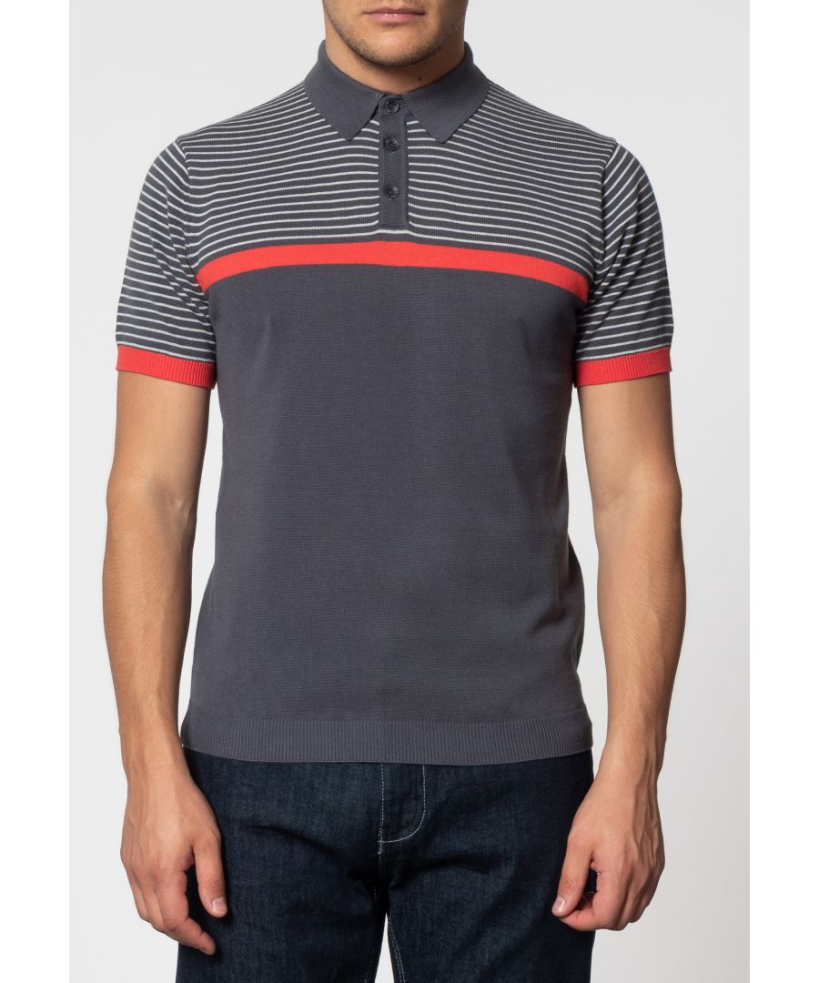 Image for Blake Shoulder Stripe Knit Polo With Ribbed Hem In Charcoal