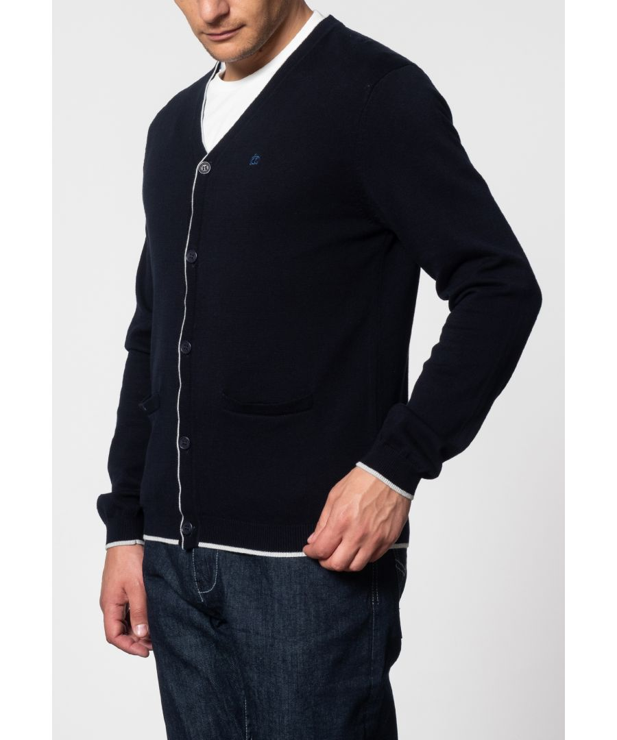 Image for Ryan V-Neck Tipped Cardigan In Dark Navy