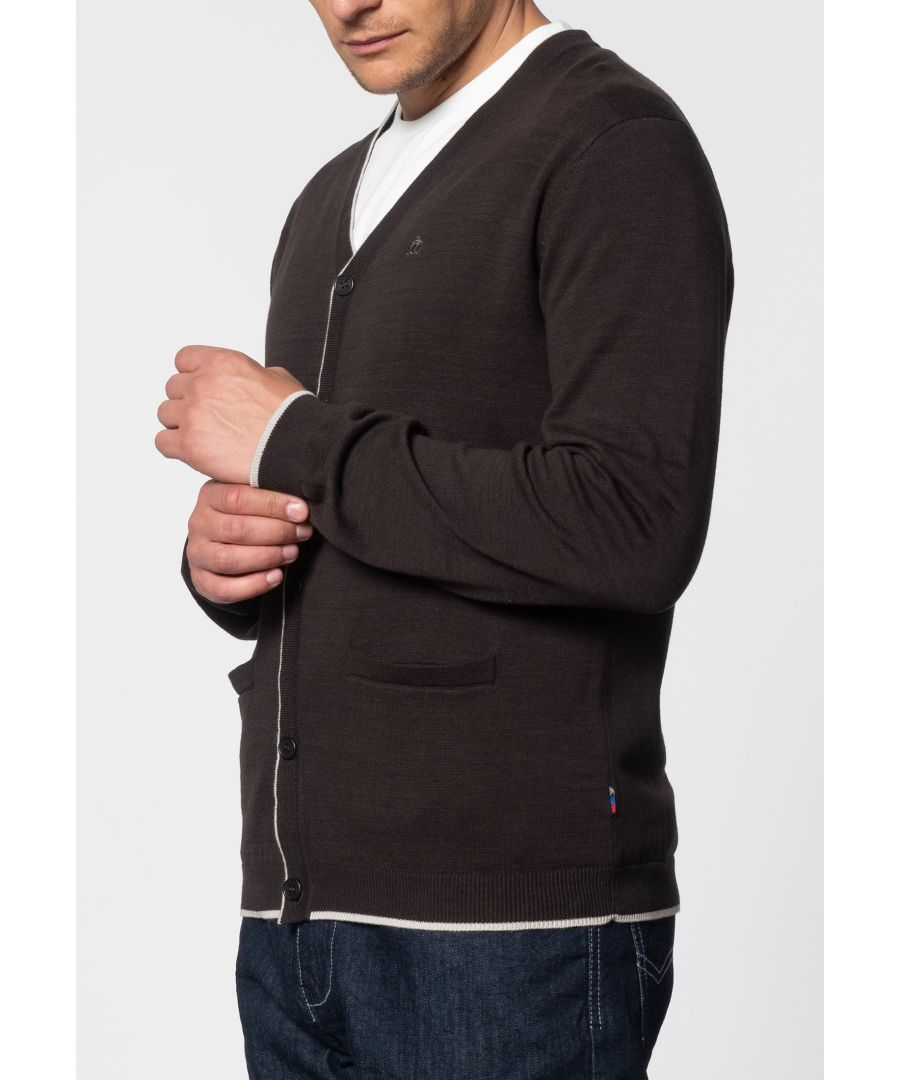 Image for Ryan V-Neck Tipped Cardigan In Dark Khaki