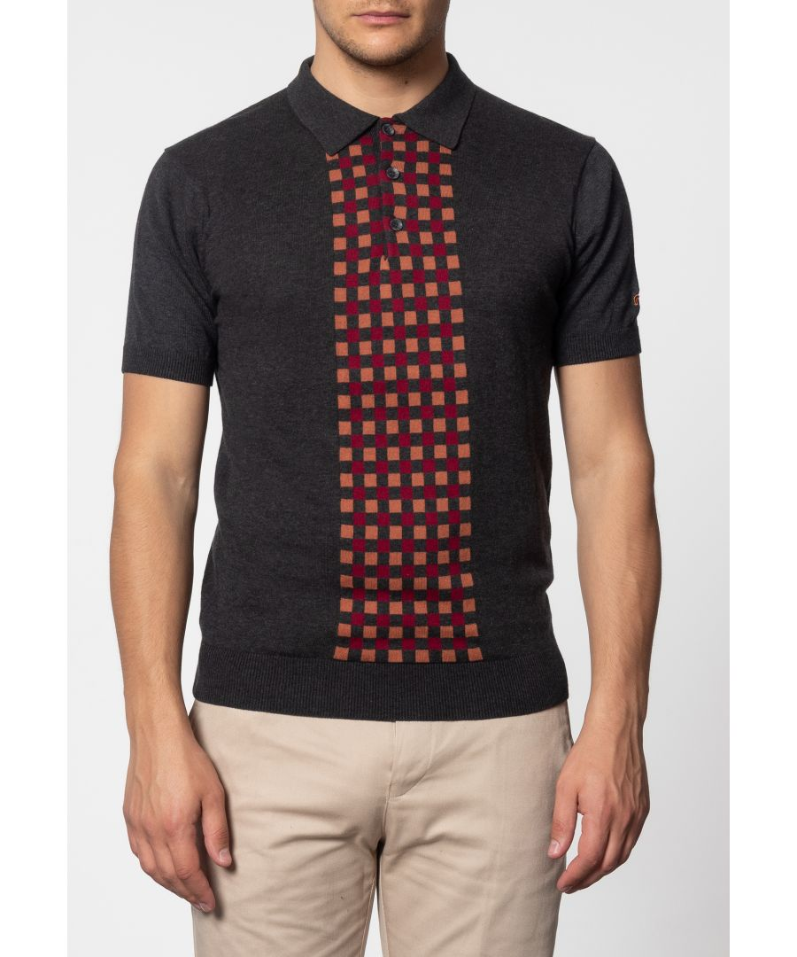 Image for Jarvis Short Sleeve Knit Polo With Check Panel In Marl Charcoal